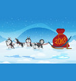 dogs sled team and chrismas red bag with numbers vector image