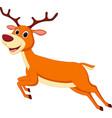 happy deer cartoon running vector image