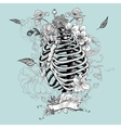 Skeleton Ribs and Flowers vector image