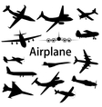 Collection of different airplane silhouettes vector image vector image