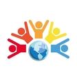 pictogram planet teamwork support design vector image
