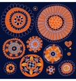 Set of floral elements in the ethnic style vector image vector image