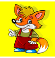 cartoon fox in the red suit smiling and showing vector image vector image