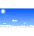 Blue sky with sun and clouds vector image