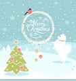 christmas background with dog and bullfinch vector image