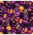 Happy halloween seamless pattern with flat icons vector image
