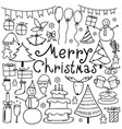 line hand drawn doodle merry christmas set vector image