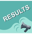 Megaphone with RESULTS announcement Flat style vector image