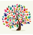 Colorful solidarity hand tree vector image