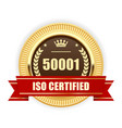 Iso 50001 certified medal - energy management vector image