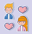people with social media technology to vector image