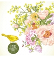 Spring Floral Bouquet with Birds Greeting Card vector image