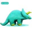 Icon of plasticine triceratops vector image