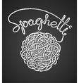 Spaghetti word and spaghetti snarl drawn on vector image