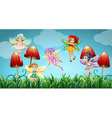 Fairies flying in the mushroom garden vector image