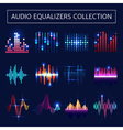 Audio Equalizer Neon Set vector image