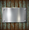 metal plate on a wooden wall vector image