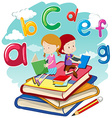 Two kids reading books together vector image
