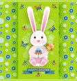 cute easter background with bunny and chicken vector image