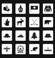 canada travel icons set squares vector image