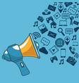 communication and promotion strategy with social vector image