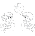 Girl and boy play a ball in water vector image vector image