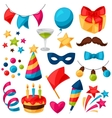 Carnival show and party set of celebration objects vector image