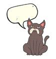 cartoon grumpy little dog with speech bubble vector image