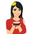 Asian pretty woman holding a cup of green tea vector image