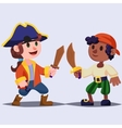 Funny cute cartoon Boys pirates kids with wooden vector image