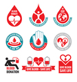 Blood donation - logo badges collection vector image