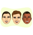 et of multiracial male avatar expressions vector image