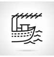 Fishing boat black line design icon vector image