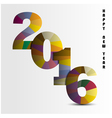 Happy New Year 2016colorful greeting card design vector image