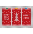 Knitted happy new year greeting cards vector image