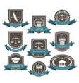 master lawyer and attorney emblems blazons and ba vector image