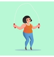 Obese young woman Jump Rope Workout Funny cartoon vector image