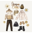 Watercolor winter clothes vector image