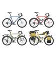 configurations of trekking bicycles vector image