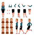 businesswoman woman character creation set with vector image
