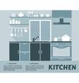 Modular kitchen interior in flat design vector image