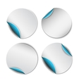 Set of white round stickers with blue backside vector image vector image