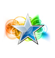 blue star on a rainbow background vector image vector image