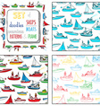 set of seamless marine patterns and frame vector image