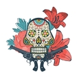 Day of the dead card with vintage skull flowers vector image