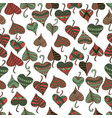 decorative patterned leaves in a red green brown vector image