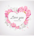 happy valentines day white heart on pink flower vector image