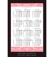 pink pocket calendar 2015 with USA holidays vector image
