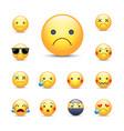 sad sorry cartoon emoji face set unhappy crying vector image
