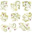 set of wine grapes design elements vector image